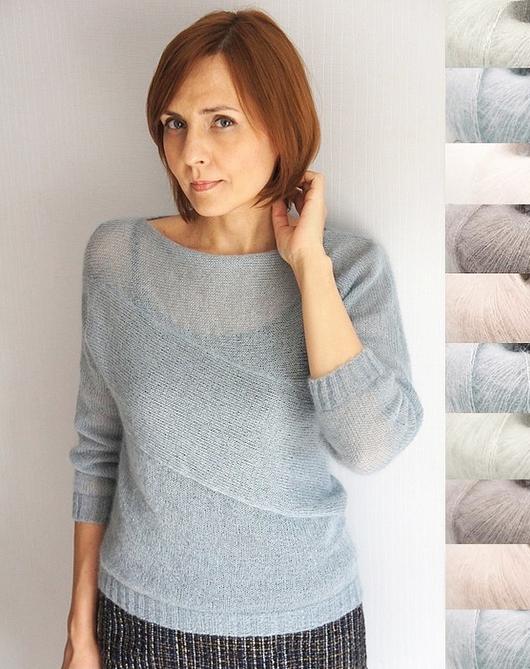 Кофты и свитера ручной работы. Ярмарка Мастеров - ручная работа. Купить Пуловер Асимметрия. Handmade. Голубой, модная модель, оригинальный