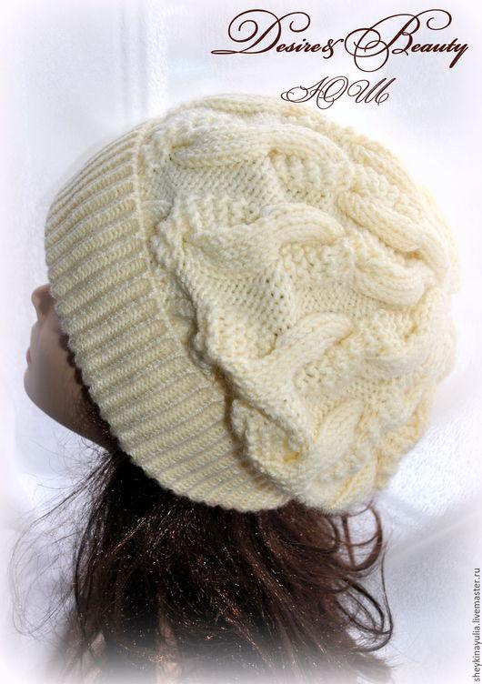 Шапки ручной работы. Ярмарка Мастеров - ручная работа. Купить Шапка вязаная, шапка с косами. шапка спицами. Handmade. Белый