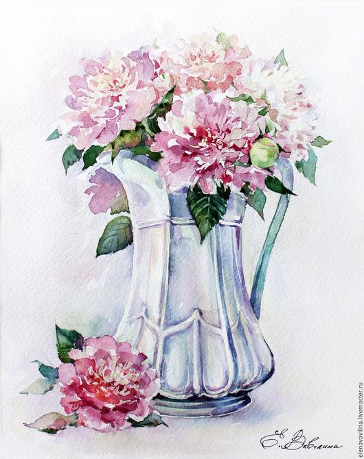 Картины цветов ручной работы. Ярмарка Мастеров - ручная работа. Купить Пионы в кувшине. Handmade. Бледно-розовый, нежность, белый