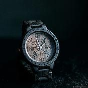 """Watches handmade. Livemaster - original item Часы деревянные ручной работы  """"Агисхьяльм"""" с рунами. Handmade."""