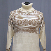 Одежда handmade. Livemaster - original item Women`s knitted sweater with the Norwegian pattern of Snow, wool. Handmade.