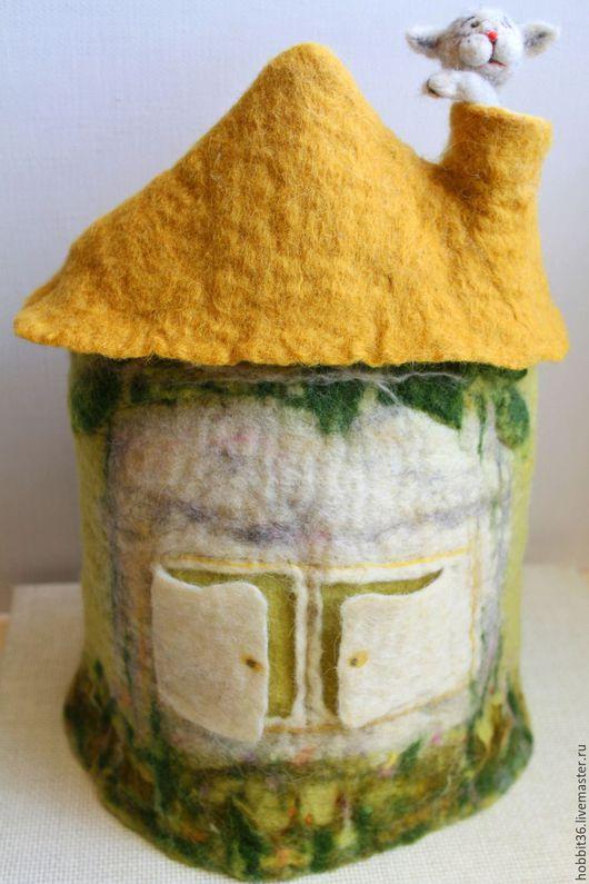Кухня ручной работы. Ярмарка Мастеров - ручная работа. Купить Чайная грелка - чайный домик с котенком в дымоходе. Handmade. Комбинированный