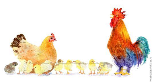 Животные ручной работы. Ярмарка Мастеров - ручная работа. Купить Акварель. Петух, курица, цыплята. Семья. Символ 2017. Handmade.