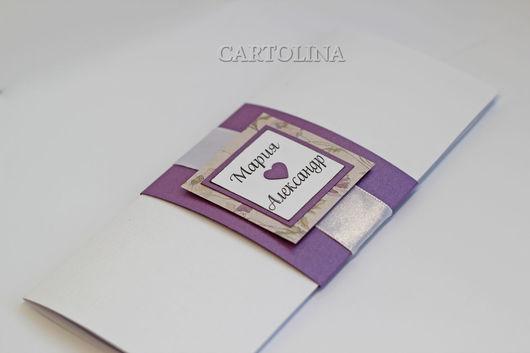 """Пригласительные ручной работы. Ярмарка Мастеров - ручная работа. Купить Приглашение на свадьбу """"Lilac"""". Handmade. Фиолетовый, классика, скрап бумага"""