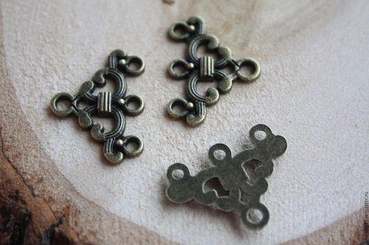 Для украшений ручной работы. Ярмарка Мастеров - ручная работа. Купить Коннектор на 3 нити, цвет металла бронза и медь. Handmade.