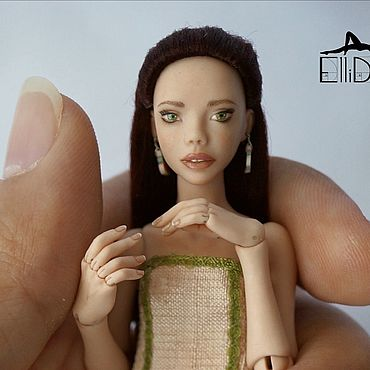 Куклы и игрушки ручной работы. Ярмарка Мастеров - ручная работа 13,5 см Амира. Миниатюрная шарнирная кукла от Ellidolls. Handmade.