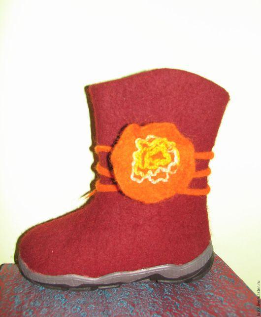 Обувь ручной работы. Ярмарка Мастеров - ручная работа. Купить Валенки для Девочки. Handmade. Бордовый, обувь ручной работы