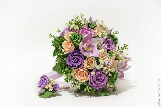 Свадебные цветы ручной работы. Ярмарка Мастеров - ручная работа. Купить Свадебный букет невесты Виктория Сиреневая орхидея и розы цвета айвори. Handmade.