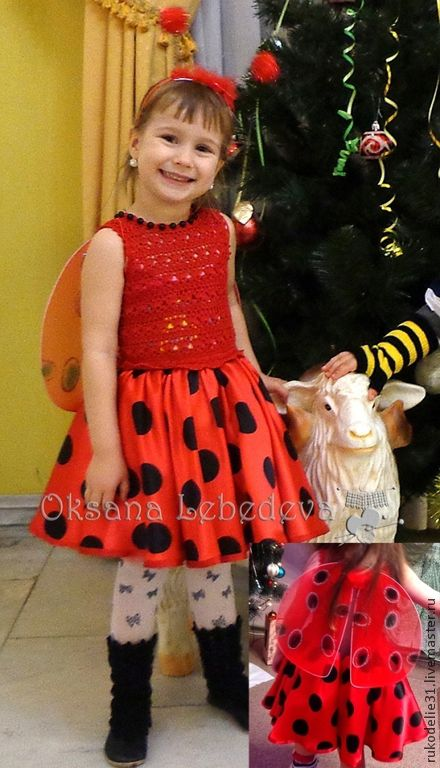 Детские карнавальные костюмы ручной работы. Ярмарка Мастеров - ручная работа. Купить Новогодний костюм для девочки Божья Коровка красное платье в горошек. Handmade.