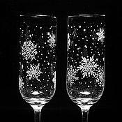 Бокалы ручной работы. Ярмарка Мастеров - ручная работа Бокалы для шампанского снежинки гравировка. Handmade.