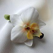 """Украшения ручной работы. Ярмарка Мастеров - ручная работа Зажим """"Орхидея белая"""". Handmade."""