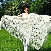 Аксессуары handmade. Livemaster - original item Shawl Lyubava 220x170x170 knit (R-R sides, excluding brushes). Handmade.