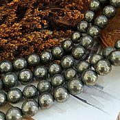 Материалы для творчества handmade. Livemaster - original item The smooth pyrite beads ball 8 mm (art. 2453). Handmade.