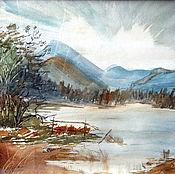 """Картины ручной работы. Ярмарка Мастеров - ручная работа Акварель """"Горное озеро"""". Handmade."""
