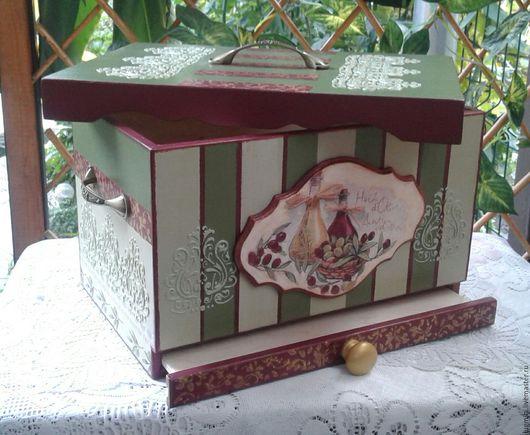 Кухня ручной работы. Ярмарка Мастеров - ручная работа. Купить Хлебница  Оливковое чудо. Handmade. Зеленый, короб для хлеба, Декупаж