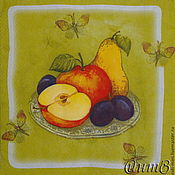 Материалы для творчества handmade. Livemaster - original item Napkins for decoupage fruit plums apples pears print. Handmade.