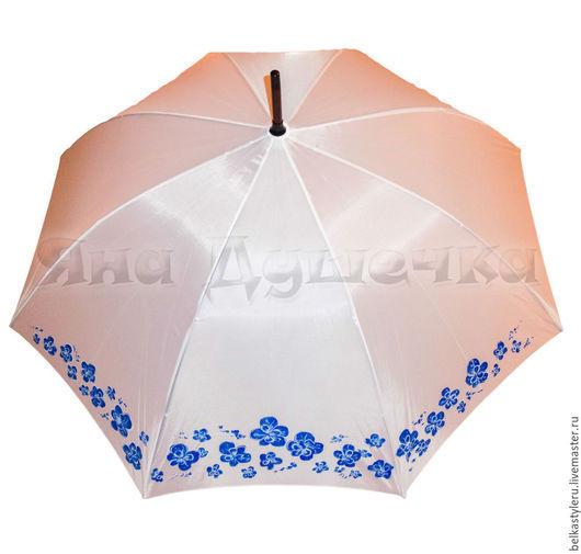 """Зонты ручной работы. Ярмарка Мастеров - ручная работа. Купить Зонт белый свадебный с ручной росписью """"Синие цветы"""". Handmade."""