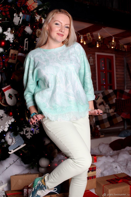 """Авторский валяный свитер (свитшот) """"Mint ice-cream"""", Свитеры, Новосибирск, Фото №1"""