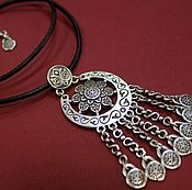 Украшения handmade. Livemaster - original item The pendant in ethnic style with flower and pendants. Handmade.
