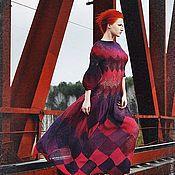 """Одежда ручной работы. Ярмарка Мастеров - ручная работа Платье спицами """"Королева спелых слив"""" из натуральной шерсти. Handmade."""
