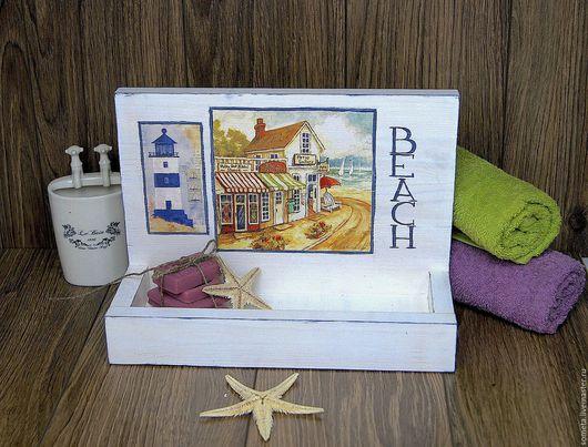 """Мебель ручной работы. Ярмарка Мастеров - ручная работа. Купить Полка деревянная """"BEACH"""". Handmade. Белый, морской пейзаж"""