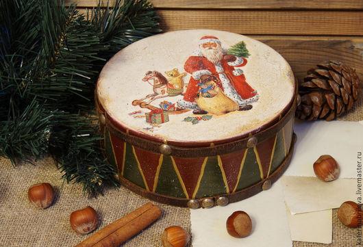 Шкатулки ручной работы. Ярмарка Мастеров - ручная работа. Купить Старый барабан -  шкатулочка. Handmade. Шкатулка, рождество, дерево, воск