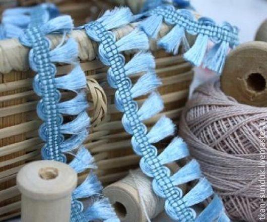 """Шитье ручной работы. Ярмарка Мастеров - ручная работа. Купить Тесьма """"Хвостики"""" (голубой). Handmade. Голубой, сундук, шоп сундук"""