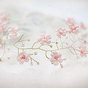 Свадебный салон ручной работы. Ярмарка Мастеров - ручная работа 51 Розовый свадебный венок с цветами. Украшение для волос невесты.. Handmade.