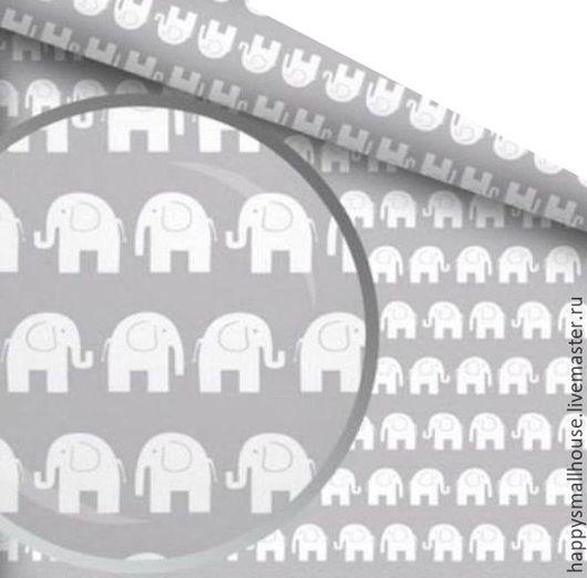 Шитье ручной работы. Ярмарка Мастеров - ручная работа. Купить Ткань Слоны Польский хлопок. Handmade. Серый, ткань