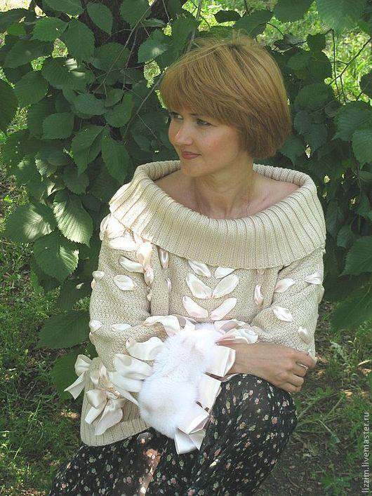 """Кофты и свитера ручной работы. Ярмарка Мастеров - ручная работа. Купить Вязаный джемпер """"Бриджид"""". Handmade. Кремовый, свитер вязаный"""