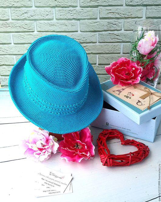 """Шляпы ручной работы. Ярмарка Мастеров - ручная работа. Купить Шляпа трилби """"Голубая бирюза"""". Handmade. Бирюзовый, шляпа трилби"""