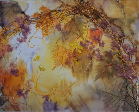 """Фантазийные сюжеты ручной работы. Ярмарка Мастеров - ручная работа. Купить """"Листопад"""" Флористический коллаж. Handmade. Оранжевый, настенное панно"""