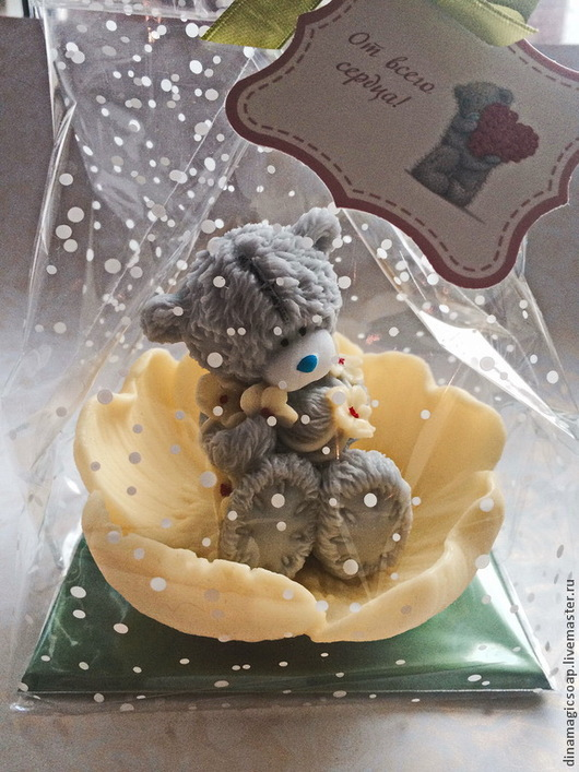 """Мыло ручной работы. Ярмарка Мастеров - ручная работа. Купить сувенирное мыло 3 d """"  Мишка в кувшинке"""". Handmade."""