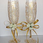 Свадебный салон ручной работы. Ярмарка Мастеров - ручная работа бокалы в золоте. Handmade.