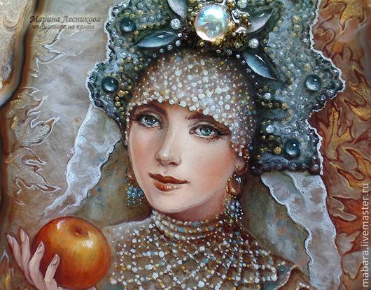 """Кулоны, подвески ручной работы. Ярмарка Мастеров - ручная работа. Купить Кулон """"Боярышня с яблоком"""". Handmade. Тёмно-бирюзовый, миниатюра"""