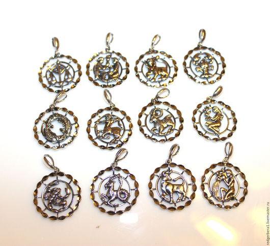 Для украшений ручной работы. Ярмарка Мастеров - ручная работа. Купить Подвески с алмазной гранью знаки Зодиак - серебрение 925 пробы. Handmade.