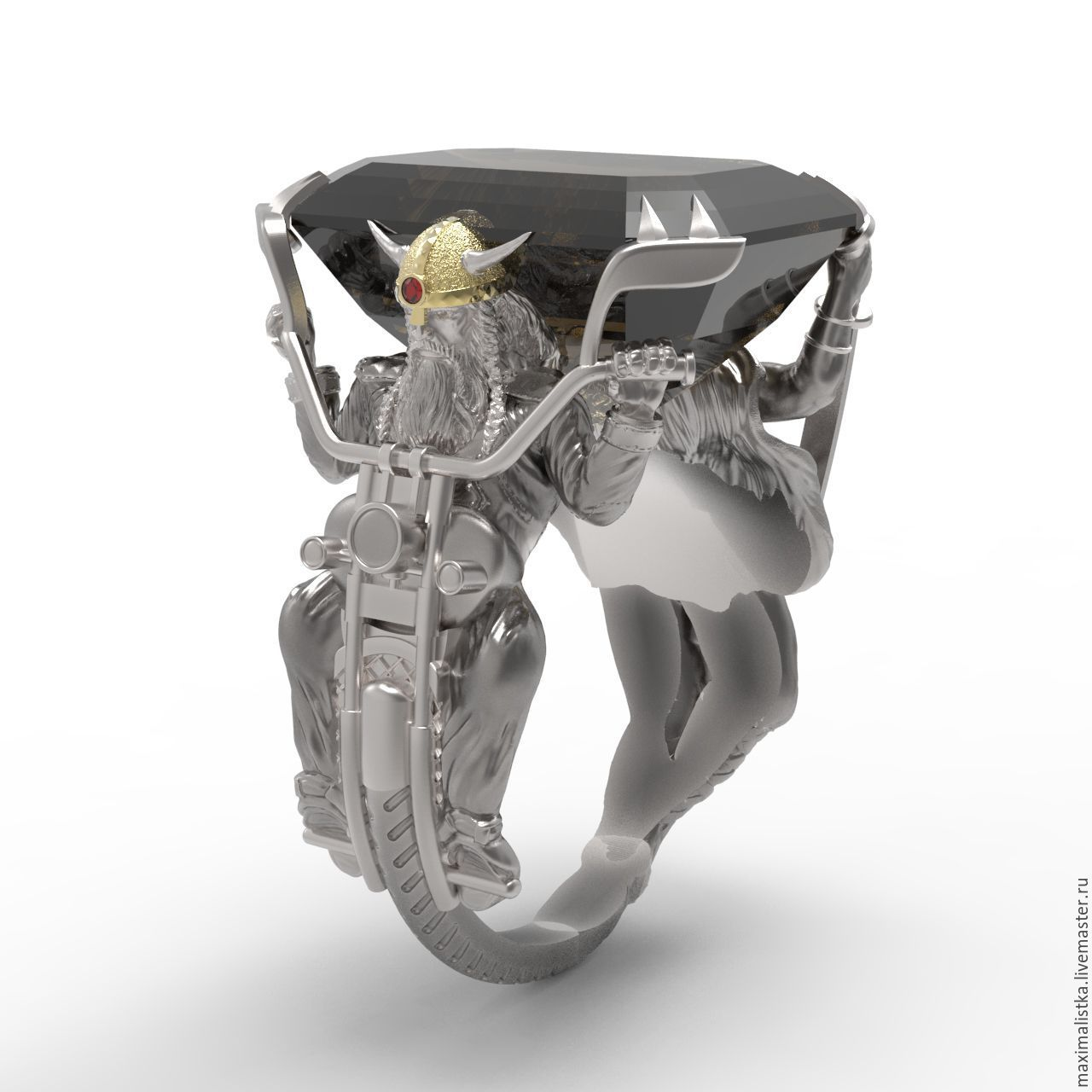 Ring 'the Viking Biker' with Topaz, silver and platinum, gold, Ring, Moscow,  Фото №1