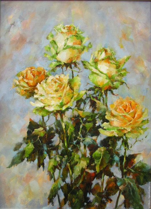 Картины цветов ручной работы. Ярмарка Мастеров - ручная работа. Купить Розы. Handmade. Салатовый, подарок женщине, холст на подрамнике