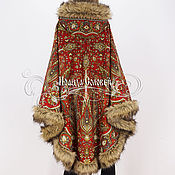 """Одежда ручной работы. Ярмарка Мастеров - ручная работа Пальто-пончо с капюшоном """"Имбирь"""" из павлопосадских платков. Handmade."""
