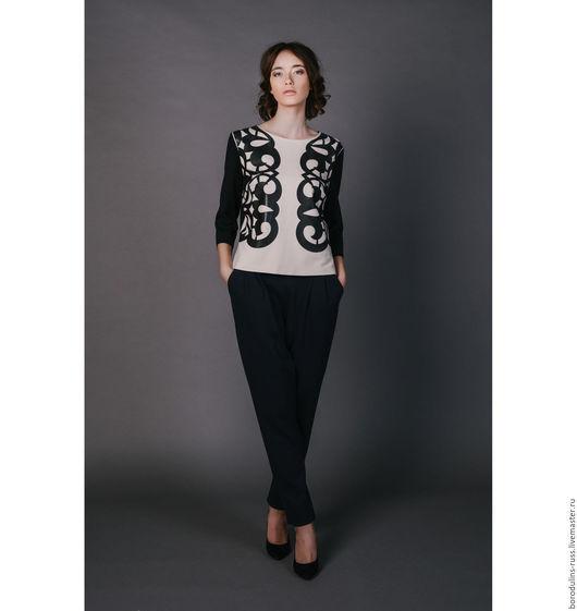 """Блузки ручной работы. Ярмарка Мастеров - ручная работа. Купить Блуза""""Ночь в Париже"""". Handmade. Бежевый, красивая блуза, дизайнерская одежда"""