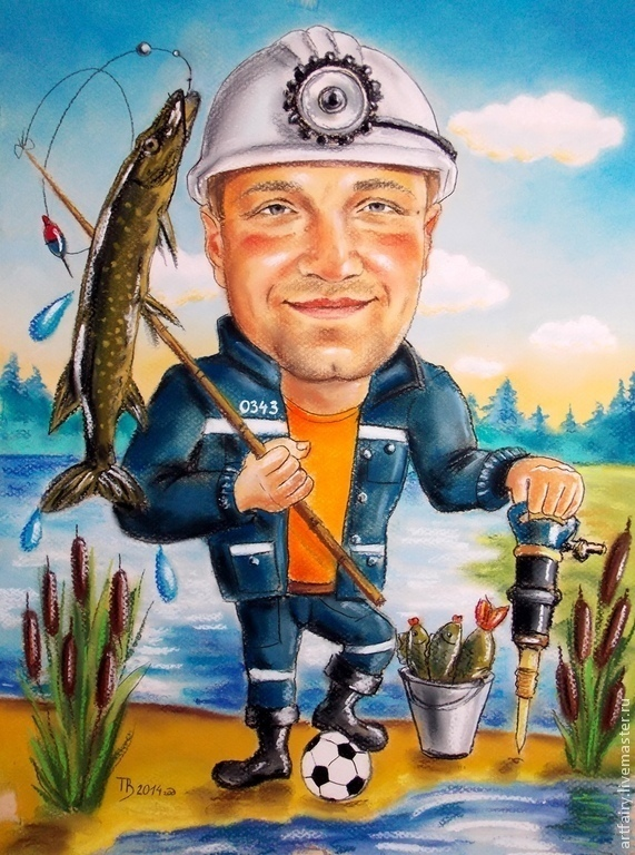 Cartoon `a miner, who loves fishing and football Gift for a birthday 30h40 smaha pastels, pastel paper Cartoon custom photos 100% handmade