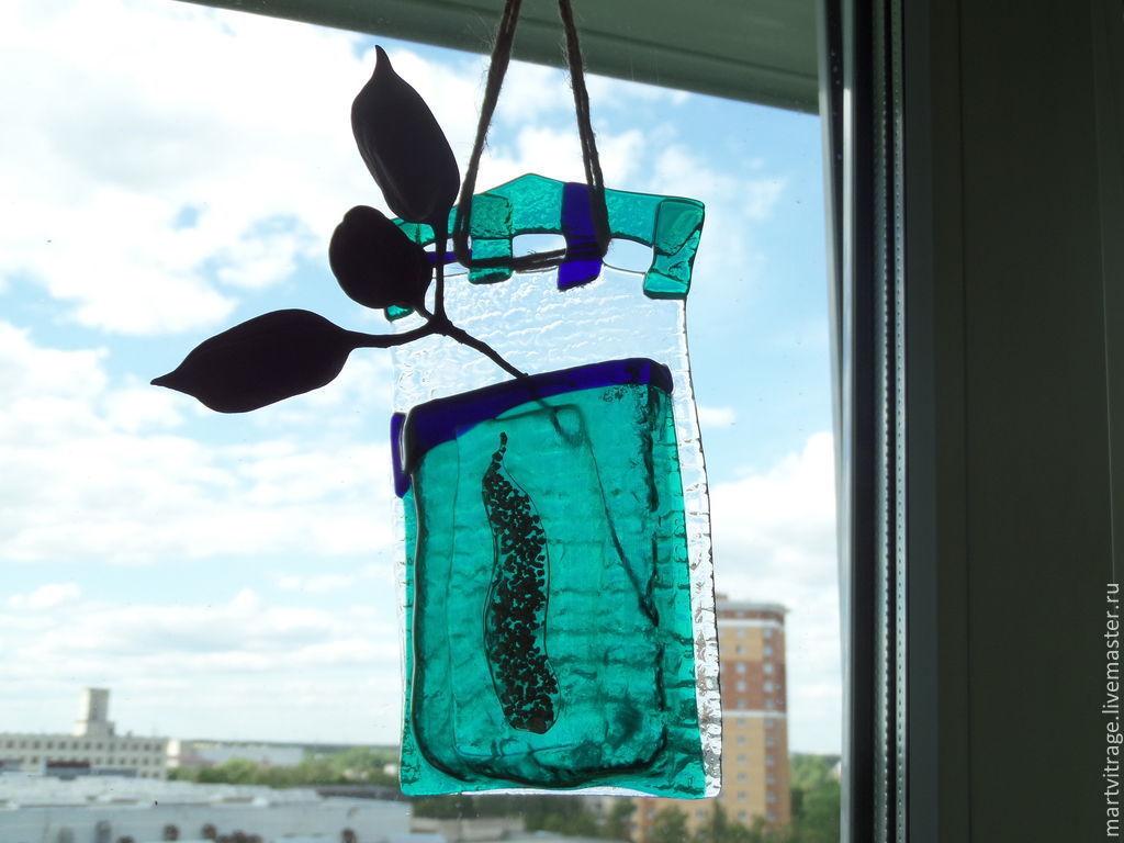 фьюзинг. ваза настенная из цветного стекла