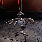 """Украшения ручной работы. Ярмарка Мастеров - ручная работа Дракон кулон """"хранитель небес"""" агат серебро небо голубой. Handmade."""