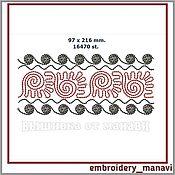 """Схемы для вышивки ручной работы. Ярмарка Мастеров - ручная работа Дизайн машинной вышивки """"Бордюр 1"""". Handmade."""