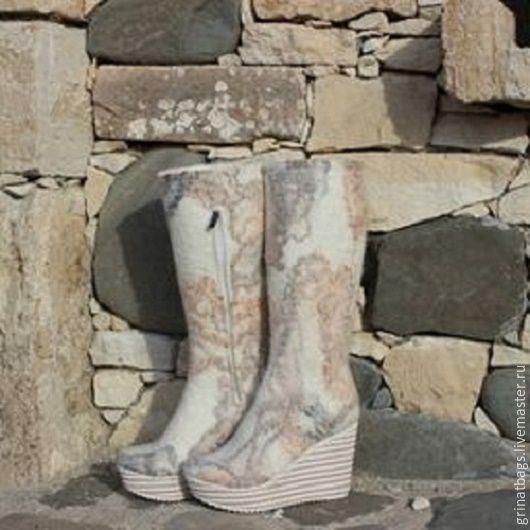 """Обувь ручной работы. Ярмарка Мастеров - ручная работа. Купить Сапожки валяные """"Мраморные"""". Handmade. Сапоги женские, авторская работа"""