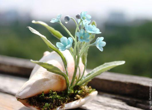 """Интерьерные композиции ручной работы. Ярмарка Мастеров - ручная работа. Купить """"На память о море"""". Handmade. Голубой, морской сувенир"""