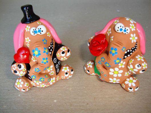 Подарки для влюбленных ручной работы. Ярмарка Мастеров - ручная работа. Купить Влюбленные слоники. Handmade. Слоник, красная глина