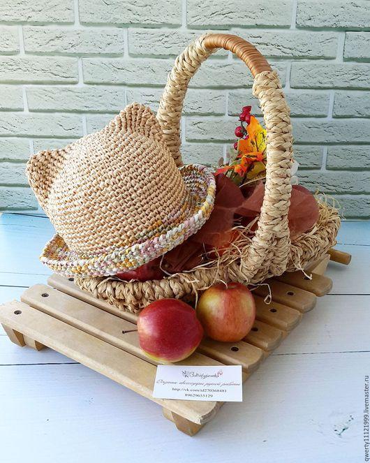 """Шляпы ручной работы. Ярмарка Мастеров - ручная работа. Купить Шляпа с ушками кошки """"Colorfull"""". Handmade. Бежевый, шляпа для девочки"""