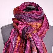 """Аксессуары ручной работы. Ярмарка Мастеров - ручная работа нуно-войлочный  шарф """"Пурпур"""". Handmade."""
