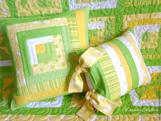 Детская ручной работы. Ярмарка Мастеров - ручная работа. Купить Стеганая Наволочка на подушку. Handmade. Зеленый, подушка для ребенка